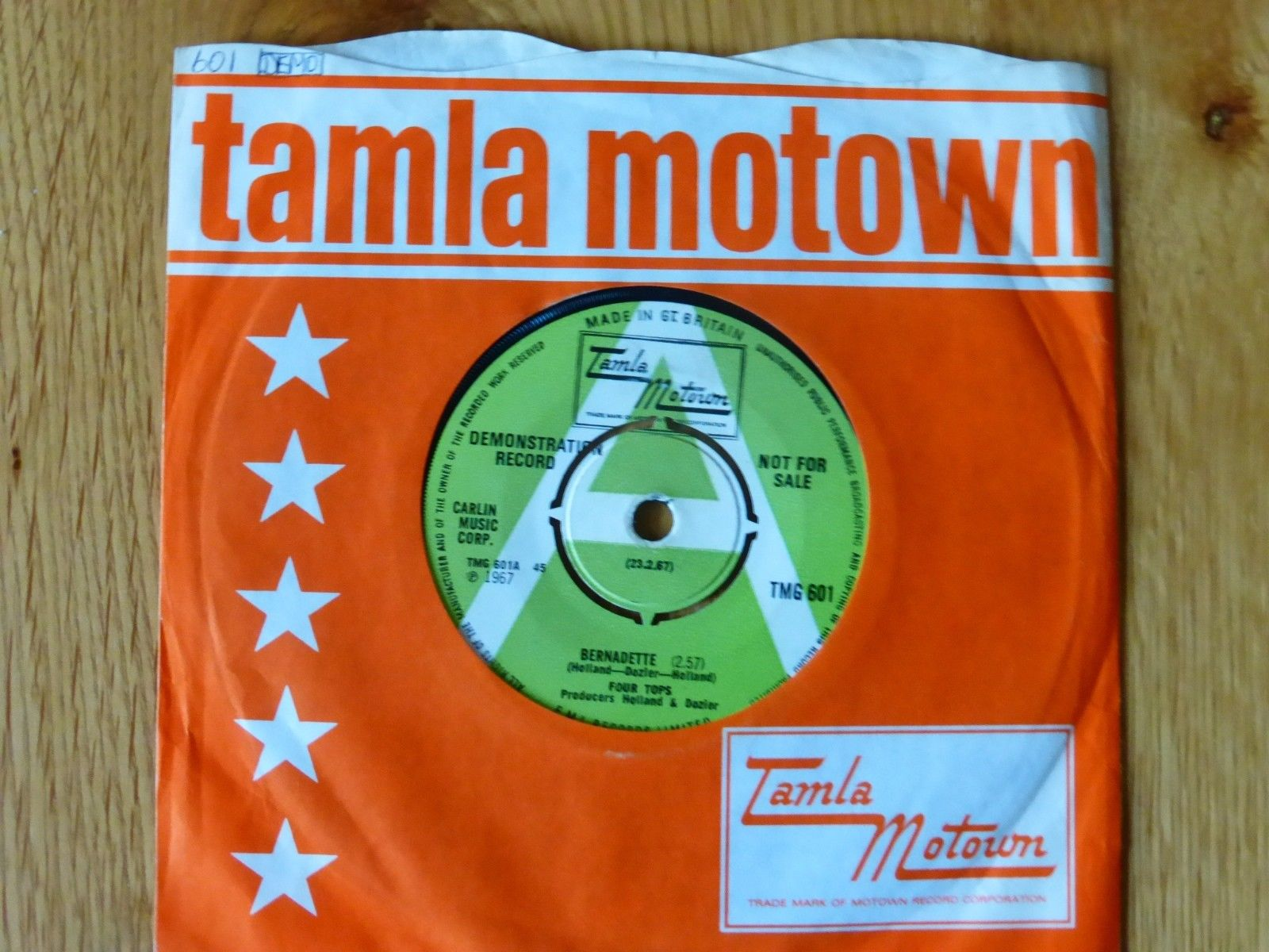 THE FOUR TOPS BERNADETTE / I GOT A FEELING [ DEMO ] TMG 601 1967