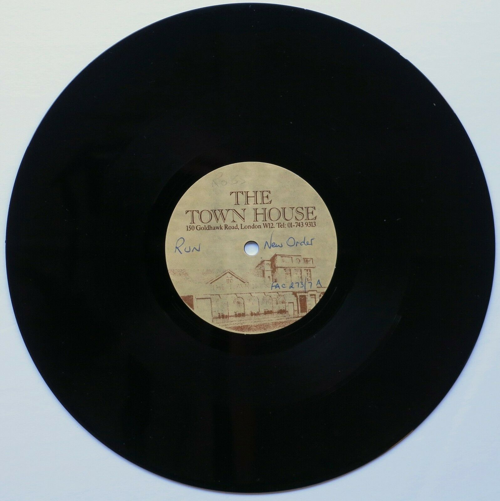 """NEW ORDER UK 10"""" Acetate """"RUN/MTO"""" From ROB GRETTON'S Archive W/ COA TOWN HOUSE"""