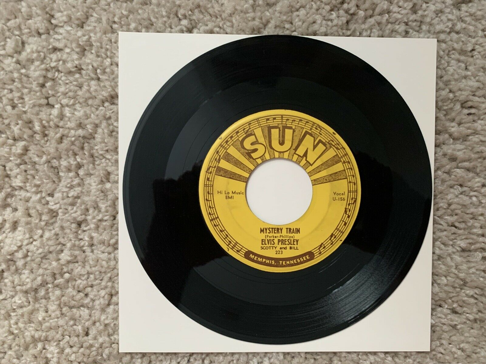 ELVIS SUN 223 MYSTERY TRAIN  45 - ORIGINAL SUN  Real Strong VG +Real Nice