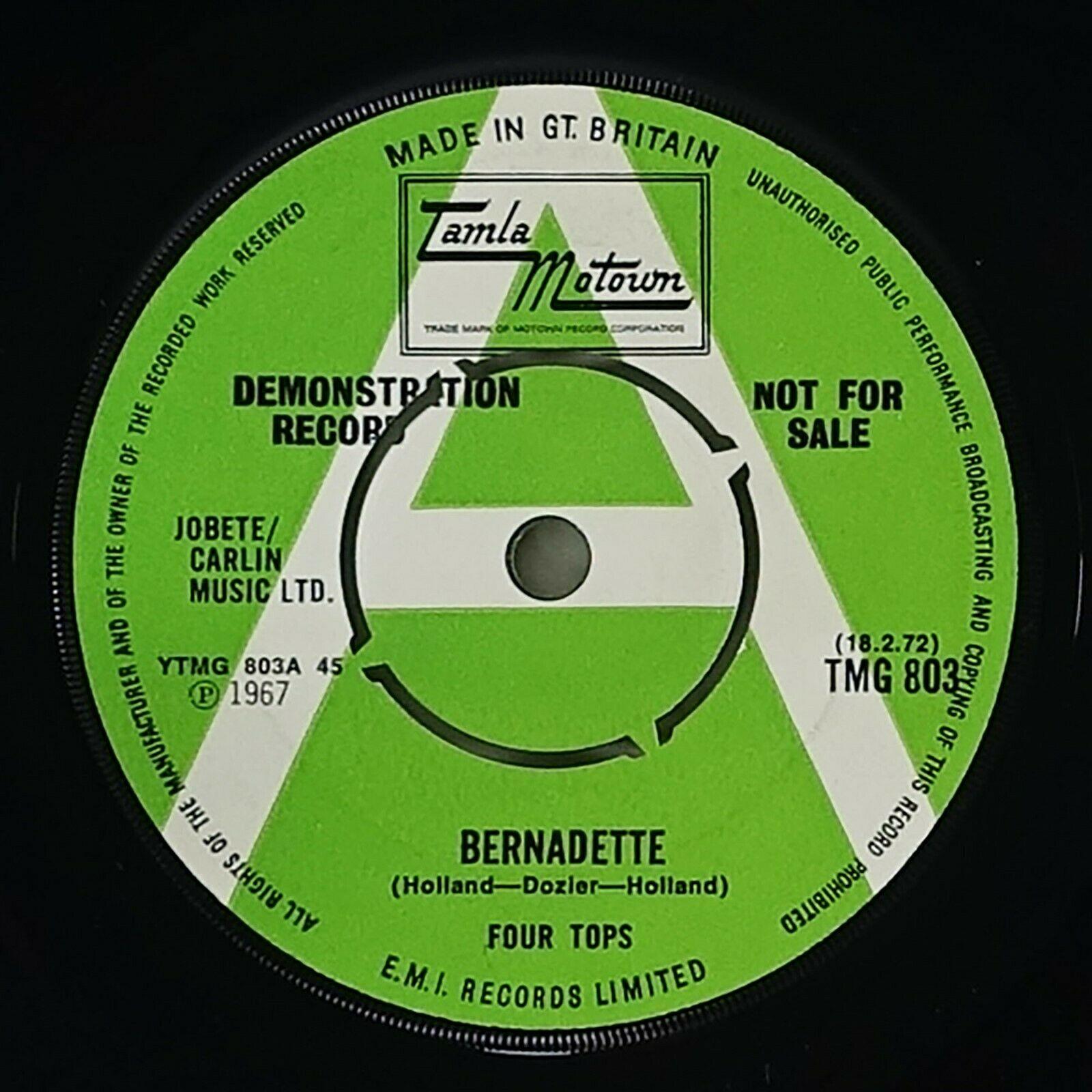 "Four Tops ""Bernadette"" Northern Soul 45 Tamla Motown UK Promo HEAR"
